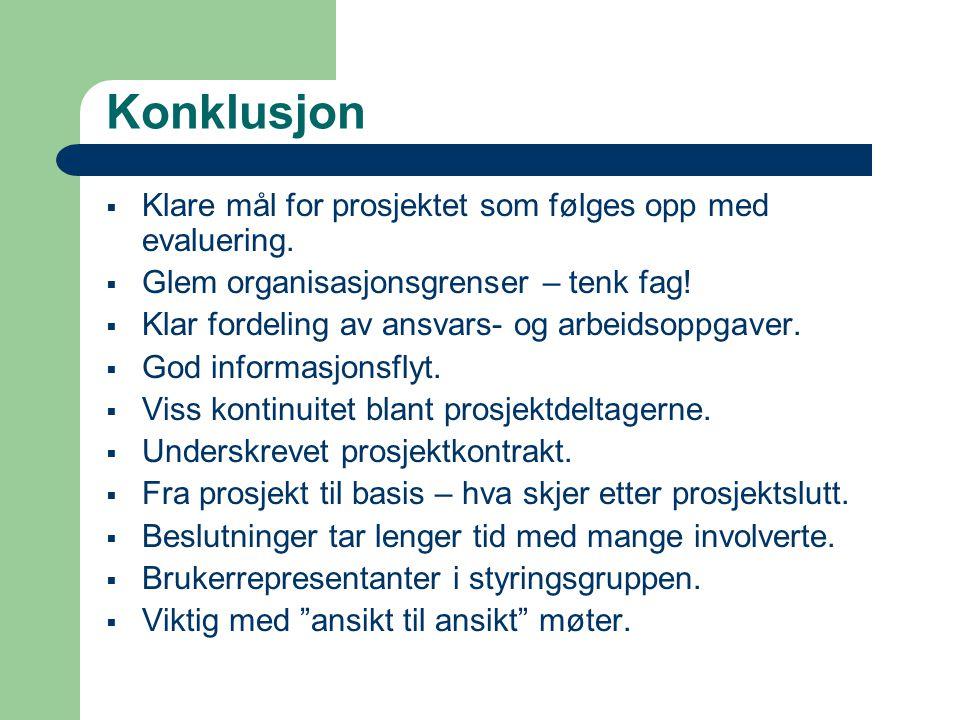 Konklusjon  Klare mål for prosjektet som følges opp med evaluering.  Glem organisasjonsgrenser – tenk fag!  Klar fordeling av ansvars- og arbeidsop