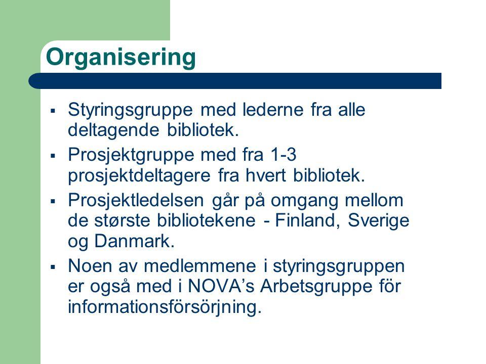 Finansiering  Årene 1997-1999 får prosjektet støtte fra Nordisk ministerråd (NMR), ca.1 mill.DKK.