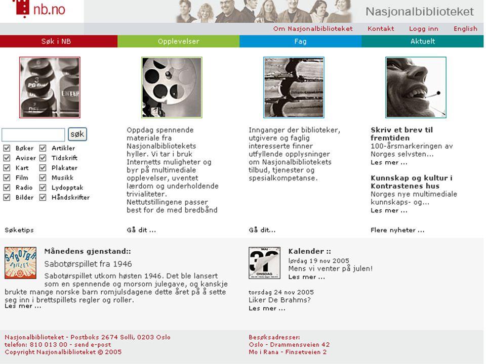 Nasjonalbibliografien – 6 deler! NBs katalog – 3 deler!