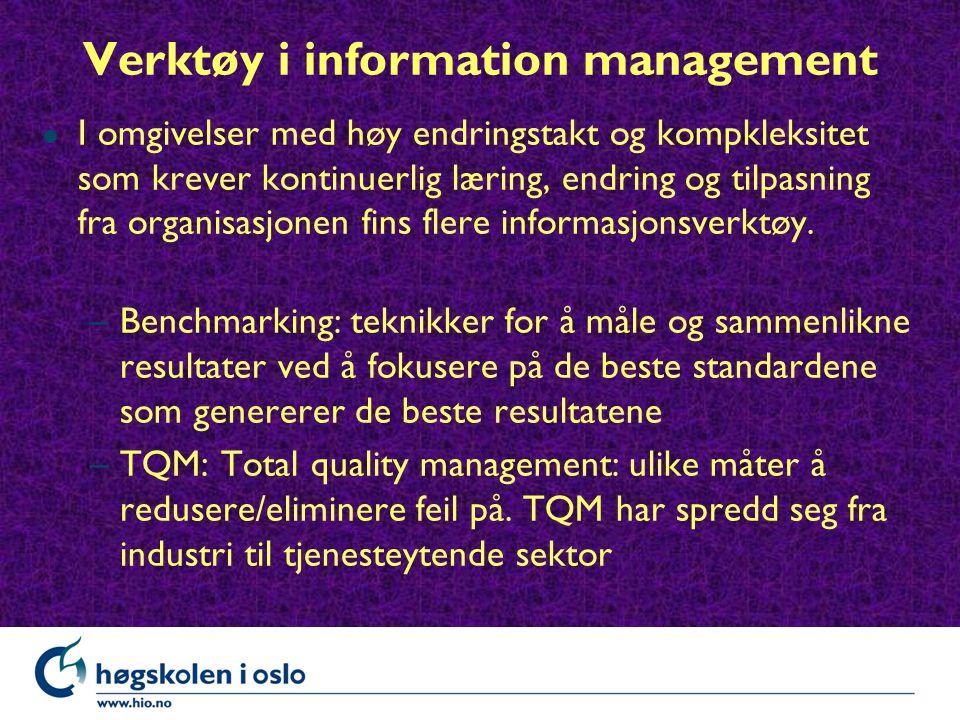Verktøy i information management l I omgivelser med høy endringstakt og kompkleksitet som krever kontinuerlig læring, endring og tilpasning fra organisasjonen fins flere informasjonsverktøy.