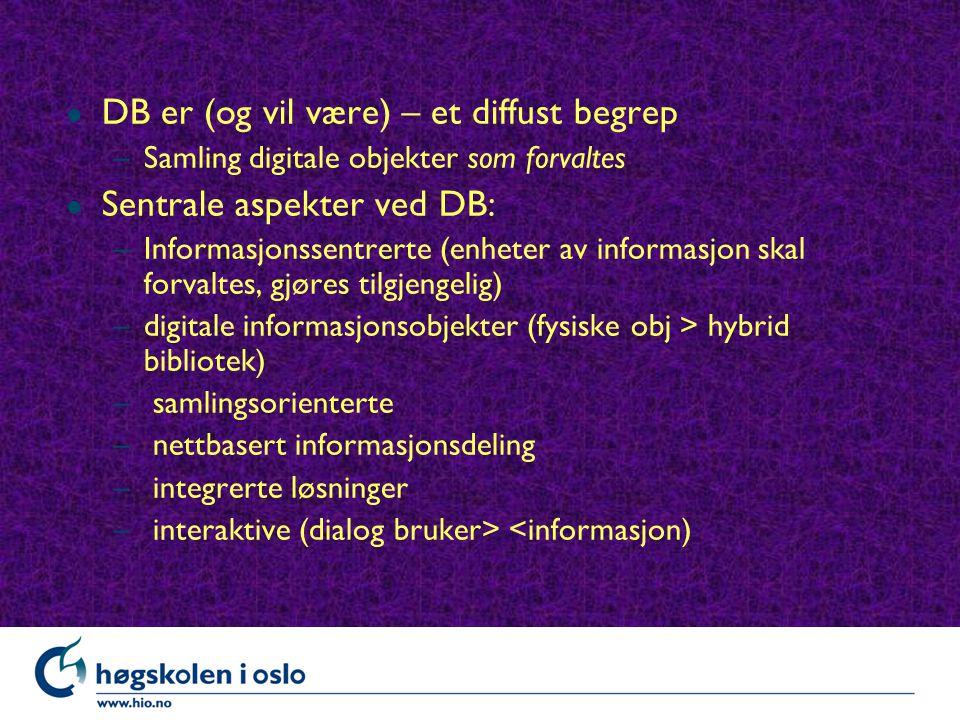 l DB er (og vil være) – et diffust begrep –Samling digitale objekter som forvaltes l Sentrale aspekter ved DB: –Informasjonssentrerte (enheter av informasjon skal forvaltes, gjøres tilgjengelig) –digitale informasjonsobjekter (fysiske obj > hybrid bibliotek) – samlingsorienterte – nettbasert informasjonsdeling – integrerte løsninger – interaktive (dialog bruker> <informasjon)