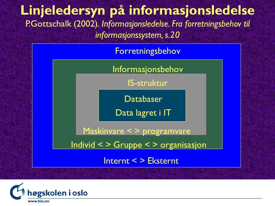 Linjeledersyn på informasjonsledelse P.Gottschalk (2002).