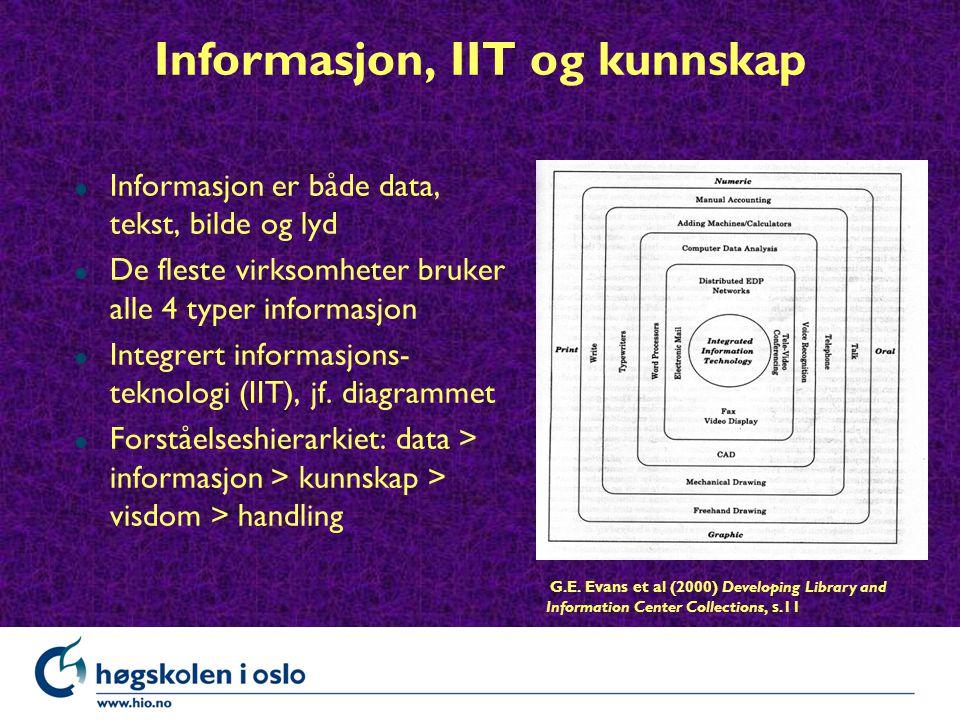 Informasjon, IIT og kunnskap l Informasjon er både data, tekst, bilde og lyd l De fleste virksomheter bruker alle 4 typer informasjon l Integrert informasjons- teknologi (IIT), jf.