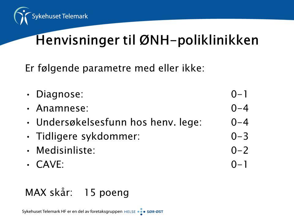 Henvisninger til ØNH-poliklinikken Er følgende parametre med eller ikke: Diagnose: 0-1 Anamnese: 0-4 Undersøkelsesfunn hos henv.