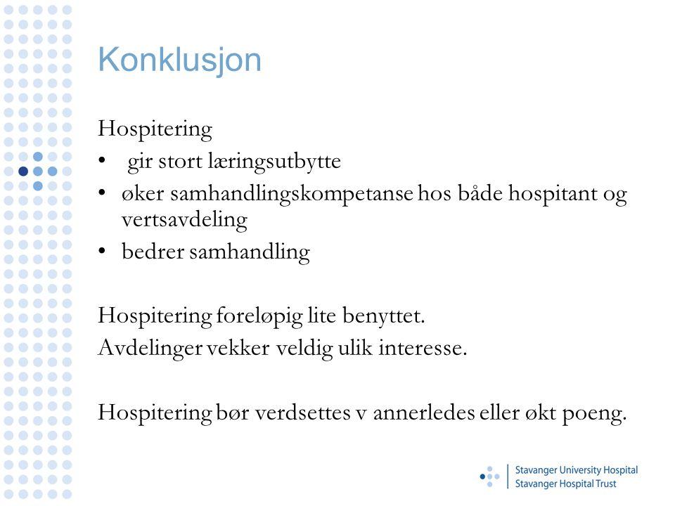 Konklusjon Hospitering gir stort læringsutbytte øker samhandlingskompetanse hos både hospitant og vertsavdeling bedrer samhandling Hospitering foreløpig lite benyttet.