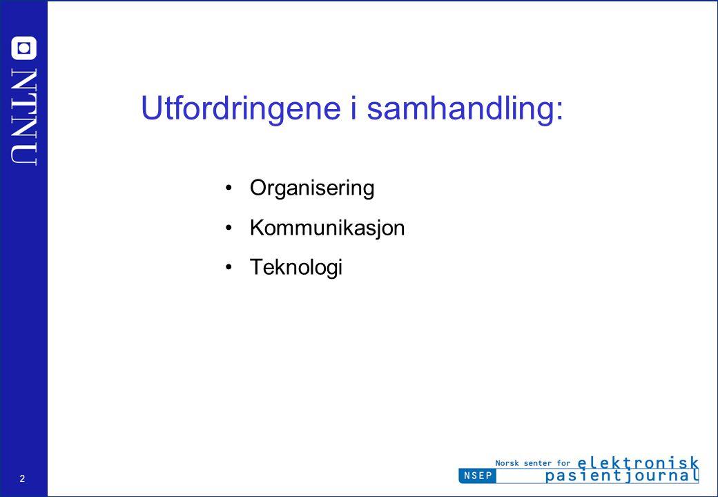 2 Utfordringene i samhandling: Organisering Kommunikasjon Teknologi
