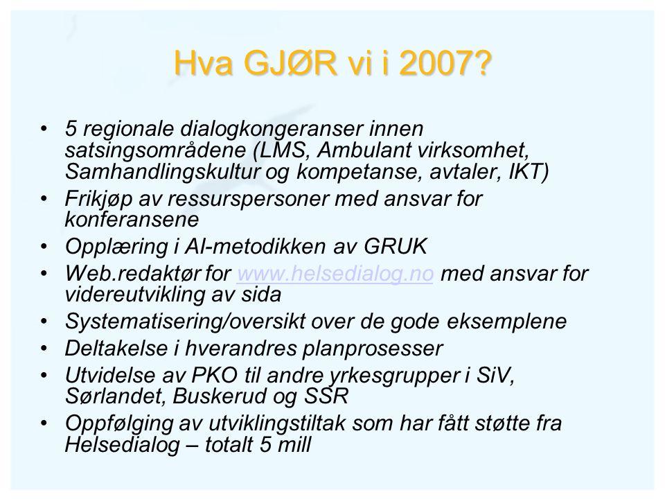 Hva GJØR vi i 2007? 5 regionale dialogkongeranser innen satsingsområdene (LMS, Ambulant virksomhet, Samhandlingskultur og kompetanse, avtaler, IKT) Fr