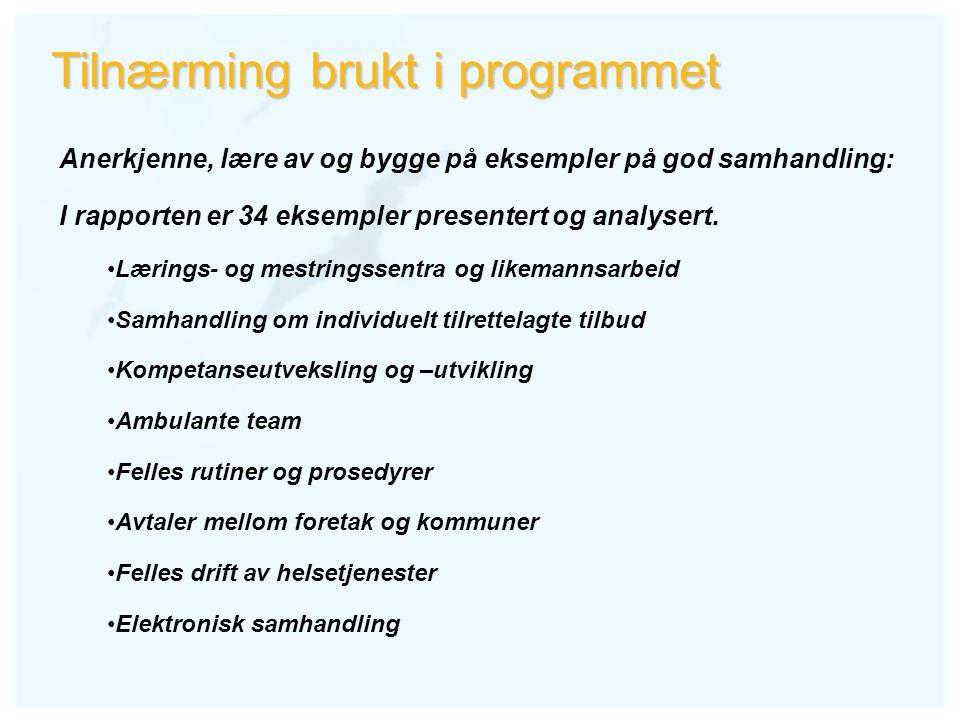Tilnærming brukt i programmet Anerkjenne, lære av og bygge på eksempler på god samhandling: I rapporten er 34 eksempler presentert og analysert. Lærin