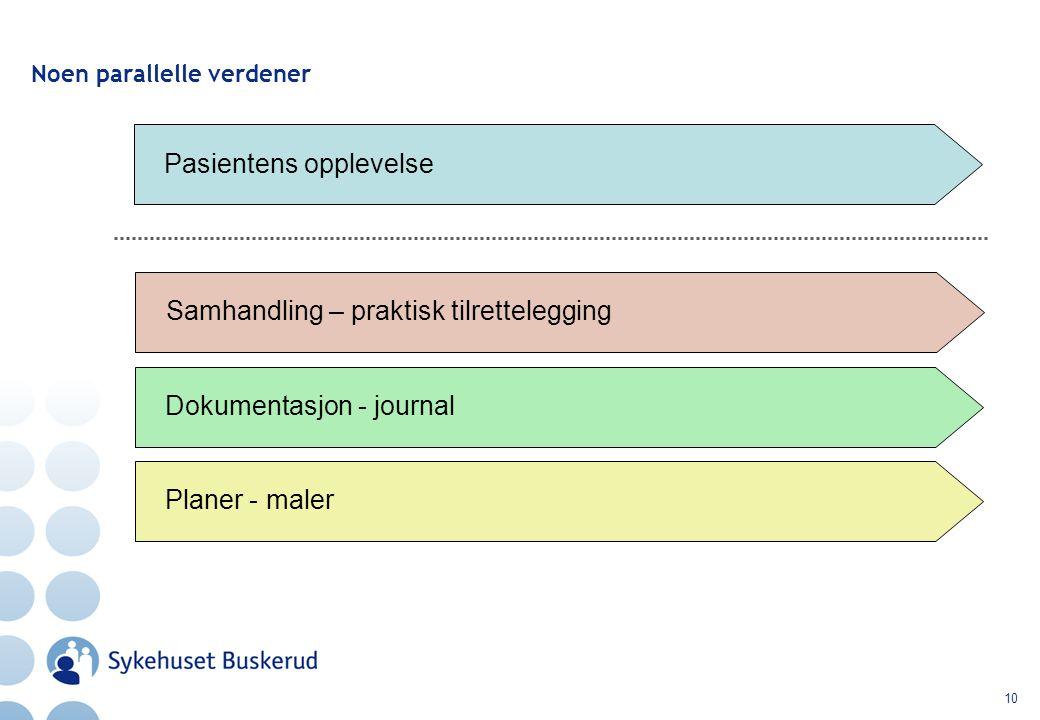 10 Noen parallelle verdener Pasientens opplevelse Samhandling – praktisk tilrettelegging Dokumentasjon - journal Planer - maler
