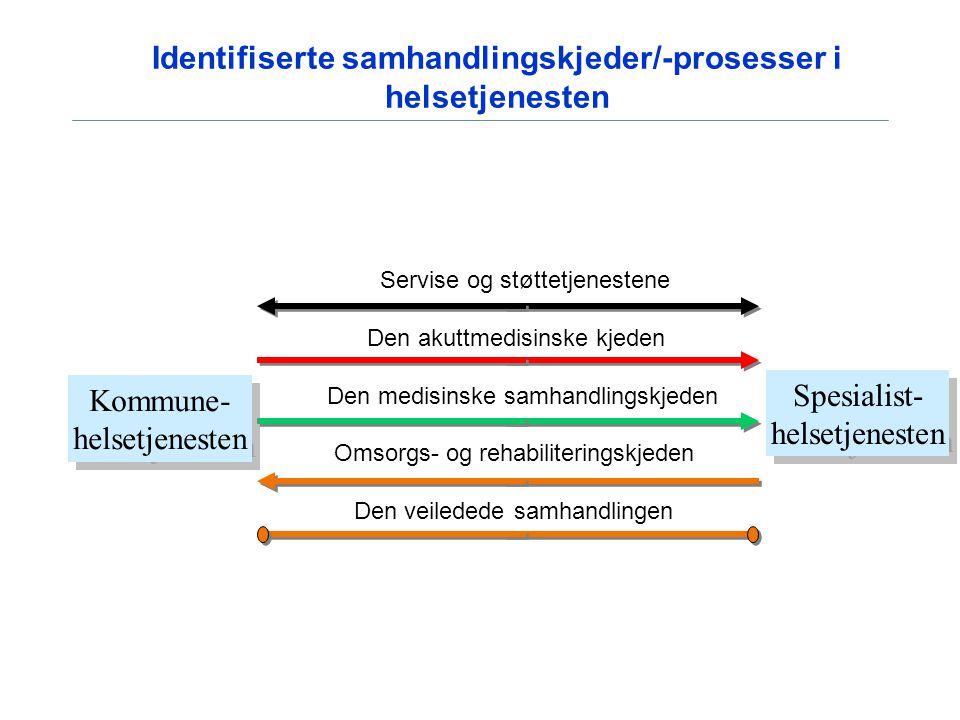 Identifiserte samhandlingskjeder/-prosesser i helsetjenesten Servise og støttetjenestene Den akuttmedisinske kjeden Den medisinske samhandlingskjeden