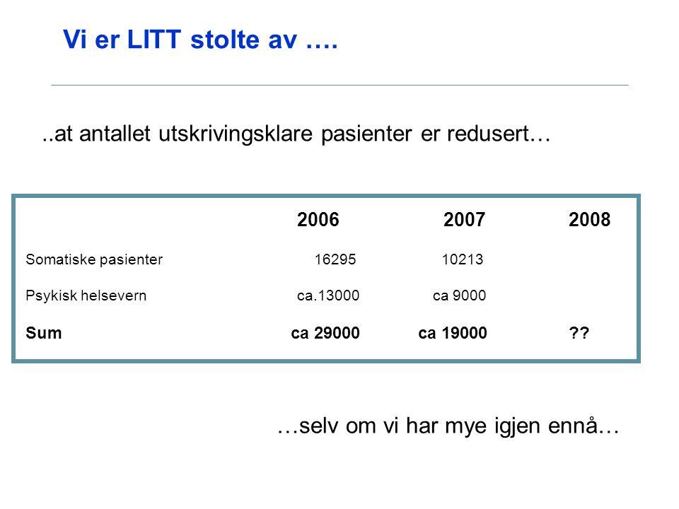 Vi er LITT stolte av …. 2006 20072008 Somatiske pasienter 16295 10213 Psykisk helsevern ca.13000 ca 9000 Sum ca 29000 ca 19000??..at antallet utskrivi