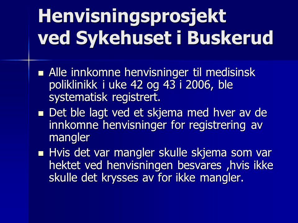 Henvisningsprosjekt ved Sykehuset i Buskerud Alle innkomne henvisninger til medisinsk poliklinikk i uke 42 og 43 i 2006, ble systematisk registrert.