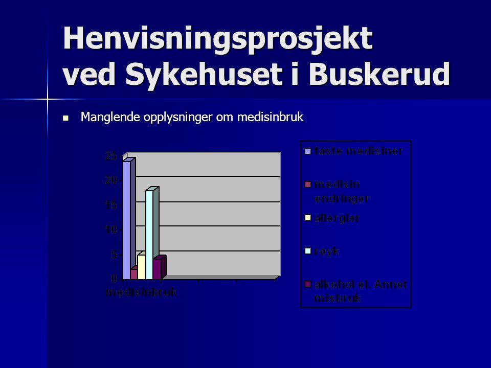 Henvisningsprosjekt ved Sykehuset i Buskerud Manglende opplysninger om medisinbruk Manglende opplysninger om medisinbruk