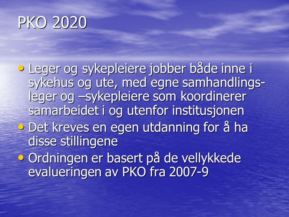 PKO 2020 Leger og sykepleiere jobber både inne i sykehus og ute, med egne samhandlings- leger og –sykepleiere som koordinerer samarbeidet i og utenfor