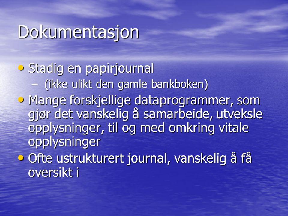 Dokumentasjon Stadig en papirjournal Stadig en papirjournal – (ikke ulikt den gamle bankboken) Mange forskjellige dataprogrammer, som gjør det vanskel