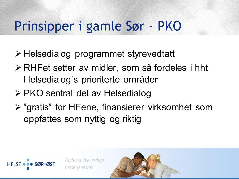 Prinsipper i gamle Helse Sør  Regional koordinering  PKO koordinator pr HF  Stor frihet lokalt mht satsning på folk og oppgaver  Engasjement og kraft.