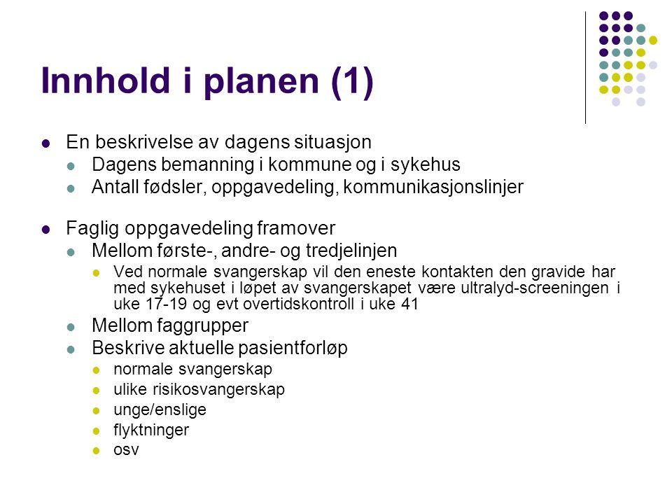 Innhold i planen (1) En beskrivelse av dagens situasjon Dagens bemanning i kommune og i sykehus Antall fødsler, oppgavedeling, kommunikasjonslinjer Fa