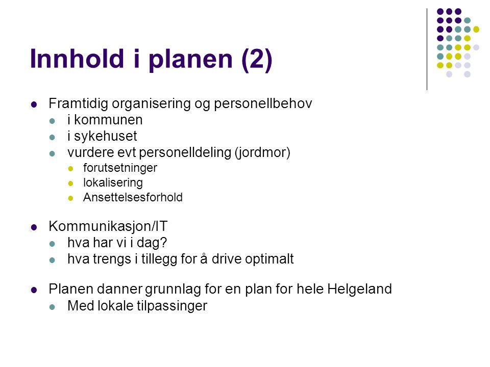Innhold i planen (2) Framtidig organisering og personellbehov i kommunen i sykehuset vurdere evt personelldeling (jordmor) forutsetninger lokalisering