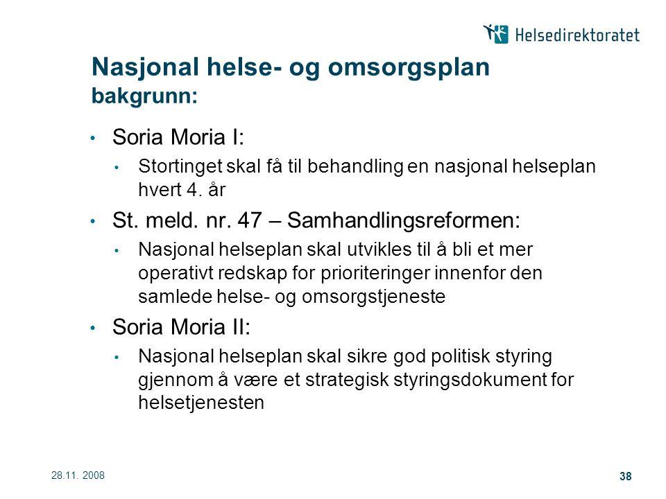 28.11.2008 38 Soria Moria I: Stortinget skal få til behandling en nasjonal helseplan hvert 4.