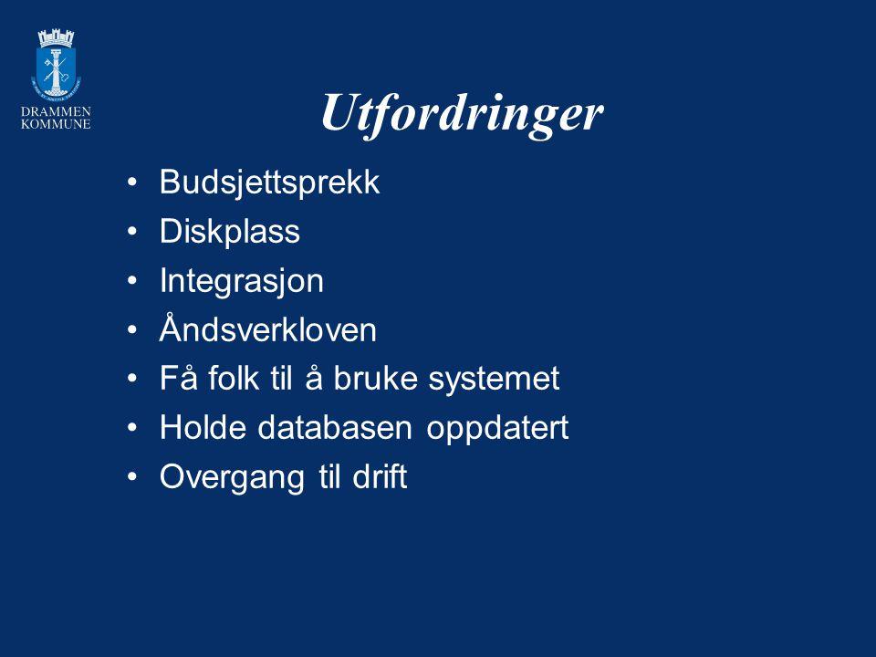 Utfordringer Budsjettsprekk Diskplass Integrasjon Åndsverkloven Få folk til å bruke systemet Holde databasen oppdatert Overgang til drift
