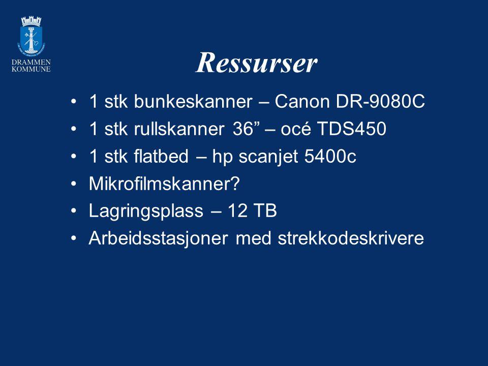 """Ressurser 1 stk bunkeskanner – Canon DR-9080C 1 stk rullskanner 36"""" – océ TDS450 1 stk flatbed – hp scanjet 5400c Mikrofilmskanner? Lagringsplass – 12"""