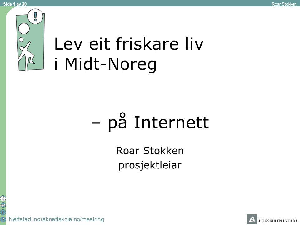 Nettstad: norsknettskole.no/mestring Roar Stokken Side 1 av 20 Lev eit friskare liv i Midt-Noreg – på Internett Roar Stokken prosjektleiar