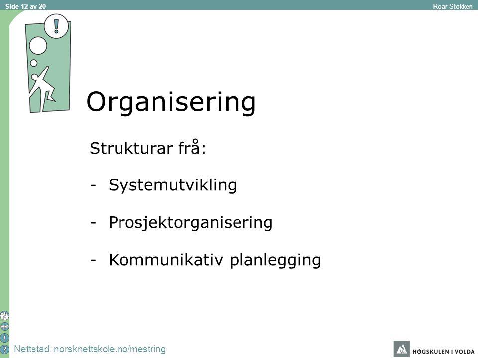 Nettstad: norsknettskole.no/mestring Roar Stokken Side 12 av 20 Organisering Strukturar frå: -Systemutvikling -Prosjektorganisering -Kommunikativ planlegging