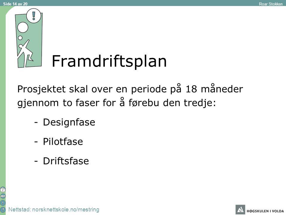 Nettstad: norsknettskole.no/mestring Roar Stokken Side 14 av 20 Framdriftsplan Prosjektet skal over en periode på 18 måneder gjennom to faser for å førebu den tredje: -Designfase -Pilotfase -Driftsfase