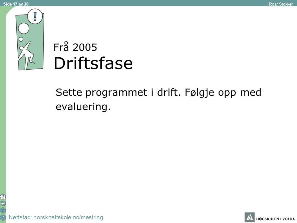 Nettstad: norsknettskole.no/mestring Roar Stokken Side 17 av 20 Frå 2005 Driftsfase Sette programmet i drift.