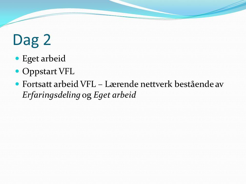 Dag 2 Eget arbeid Oppstart VFL Fortsatt arbeid VFL – Lærende nettverk bestående av Erfaringsdeling og Eget arbeid