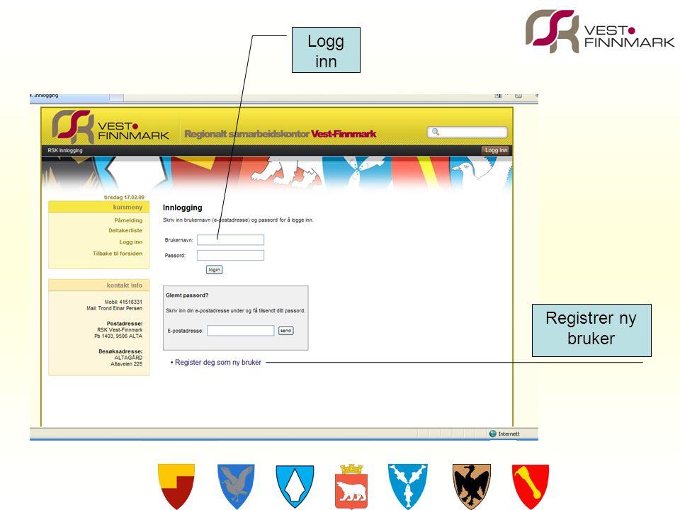 Registrer ny bruker Logg inn