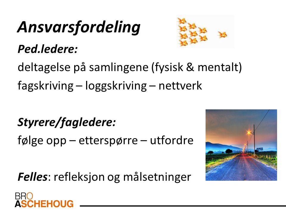 Ansvarsfordeling Ped.ledere: deltagelse på samlingene (fysisk & mentalt) fagskriving – loggskriving – nettverk Styrere/fagledere: følge opp – etterspø