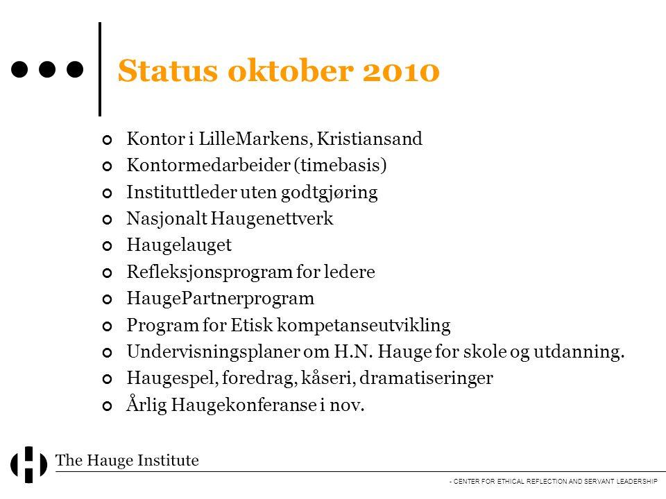 - CENTER FOR ETHICAL REFLECTION AND SERVANT LEADERSHIP Status oktober 2010 Kontor i LilleMarkens, Kristiansand Kontormedarbeider (timebasis) Institutt