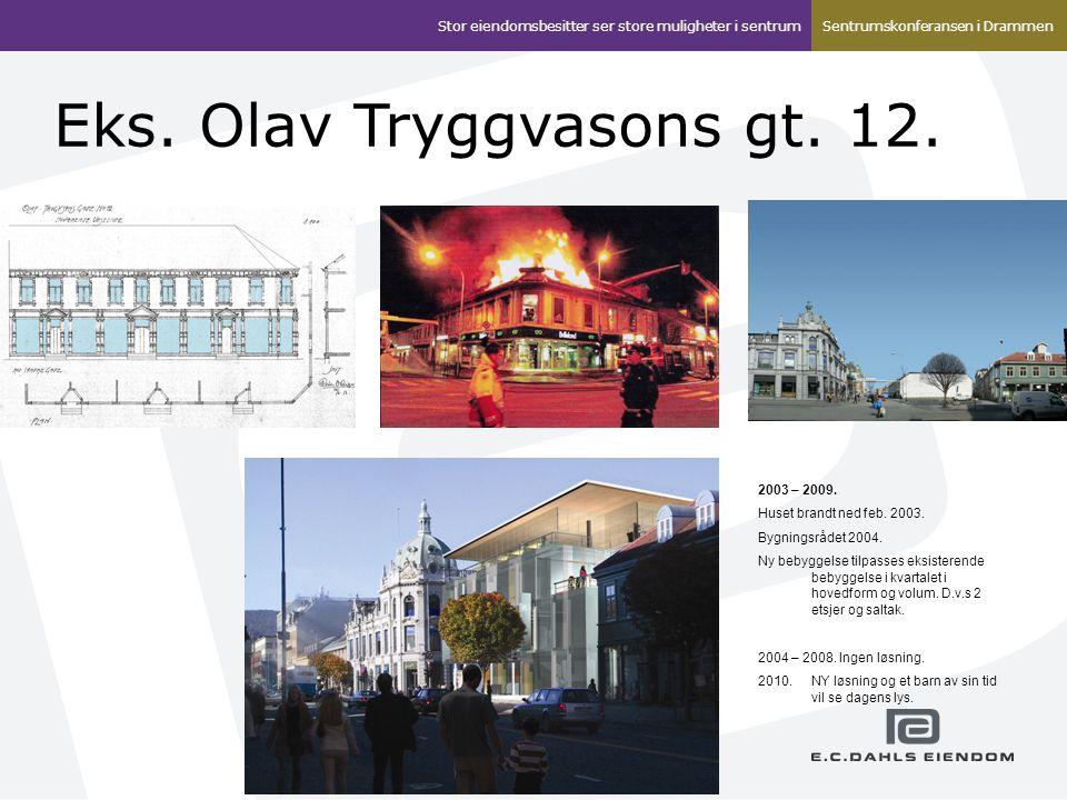 Eks. Olav Tryggvasons gt. 12. 2003 – 2009. Huset brandt ned feb. 2003. Bygningsrådet 2004. Ny bebyggelse tilpasses eksisterende bebyggelse i kvartalet