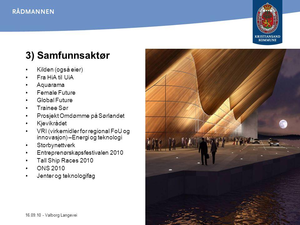 16.09.10 - Valborg Langevei 3) Samfunnsaktør Kilden (også eier) Fra HiA til UiA Aquarama Female Future Global Future Trainee Sør Prosjekt Omdømme på S