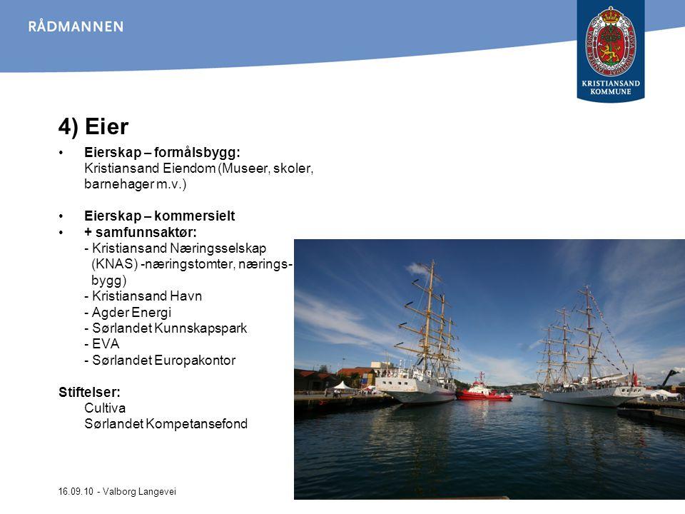 16.09.10 - Valborg Langevei 4) Eier Eierskap – formålsbygg: Kristiansand Eiendom (Museer, skoler, barnehager m.v.) Eierskap – kommersielt + samfunnsak
