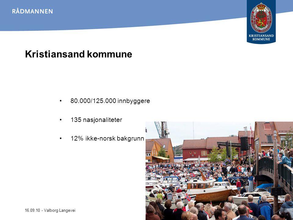 16.09.10 - Valborg Langevei Kristiansand kommune 80.000/125.000 innbyggere 135 nasjonaliteter 12% ikke-norsk bakgrunn