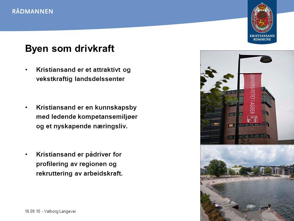 16.09.10 - Valborg Langevei Byen som drivkraft Kristiansand er et attraktivt og vekstkraftig landsdelssenter Kristiansand er en kunnskapsby med ledende kompetansemiljøer og et nyskapende næringsliv.