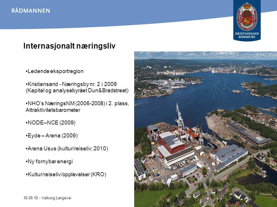 16.09.10 - Valborg Langevei Internasjonalt næringsliv Ledende eksportregion Kristiansand - Næringsby nr. 2 i 2009 (Kapital og analysebyrået Dun&Bradst