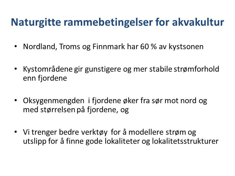 Naturgitte rammebetingelser for akvakultur Nordland, Troms og Finnmark har 60 % av kystsonen Kystområdene gir gunstigere og mer stabile strømforhold enn fjordene Oksygenmengden i fjordene øker fra sør mot nord og med størrelsen på fjordene, og Vi trenger bedre verktøy for å modellere strøm og utslipp for å finne gode lokaliteter og lokalitetsstrukturer