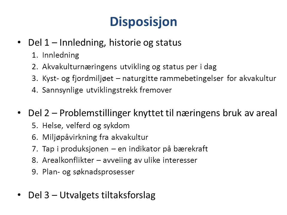 Disposisjon Del 1 – Innledning, historie og status 1. Innledning 2. Akvakulturnæringens utvikling og status per i dag 3. Kyst- og fjordmiljøet – natur