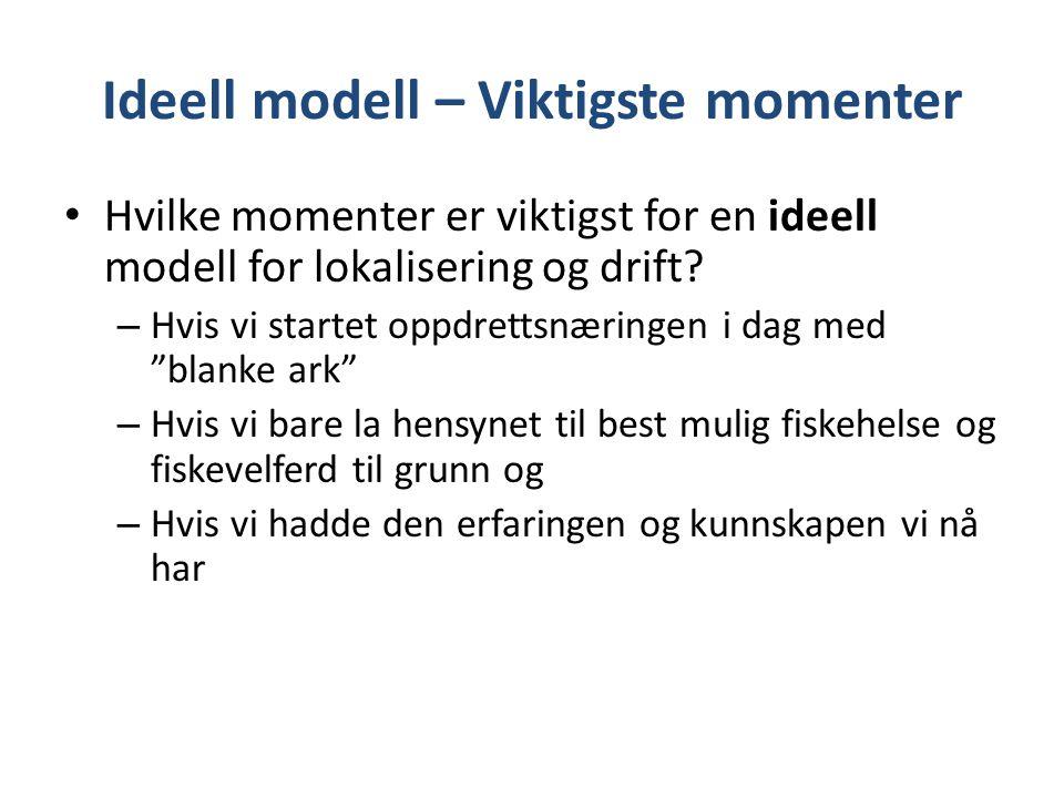 Ideell modell – Viktigste momenter Hvilke momenter er viktigst for en ideell modell for lokalisering og drift? – Hvis vi startet oppdrettsnæringen i d