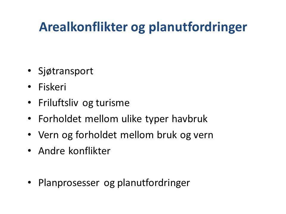 Arealkonflikter og planutfordringer Sjøtransport Fiskeri Friluftsliv og turisme Forholdet mellom ulike typer havbruk Vern og forholdet mellom bruk og
