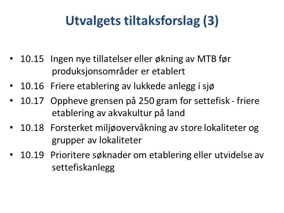 Utvalgets tiltaksforslag (3) 10.15 Ingen nye tillatelser eller økning av MTB før produksjonsområder er etablert 10.16 Friere etablering av lukkede anlegg i sjø 10.17 Oppheve grensen på 250 gram for settefisk - friere etablering av akvakultur på land 10.18 Forsterket miljøovervåkning av store lokaliteter og grupper av lokaliteter 10.19 Prioritere søknader om etablering eller utvidelse av settefiskanlegg