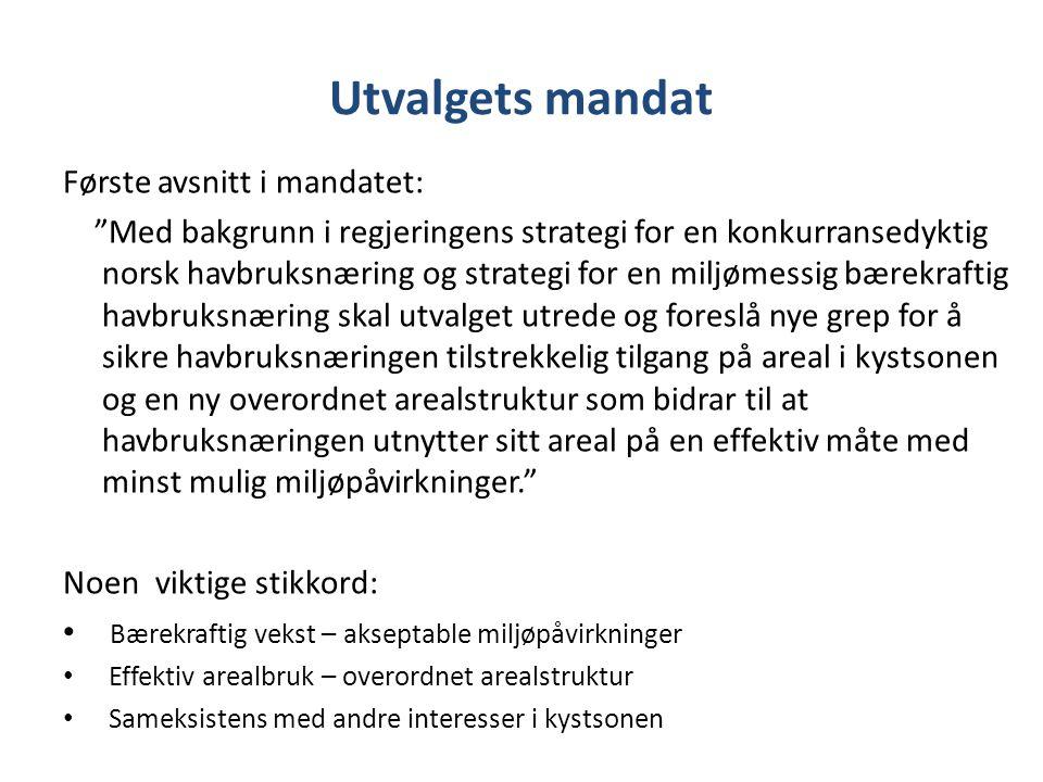 Utvalgets mandat Første avsnitt i mandatet: Med bakgrunn i regjeringens strategi for en konkurransedyktig norsk havbruksnæring og strategi for en miljømessig bærekraftig havbruksnæring skal utvalget utrede og foreslå nye grep for å sikre havbruksnæringen tilstrekkelig tilgang på areal i kystsonen og en ny overordnet arealstruktur som bidrar til at havbruksnæringen utnytter sitt areal på en effektiv måte med minst mulig miljøpåvirkninger. Noen viktige stikkord: Bærekraftig vekst – akseptable miljøpåvirkninger Effektiv arealbruk – overordnet arealstruktur Sameksistens med andre interesser i kystsonen