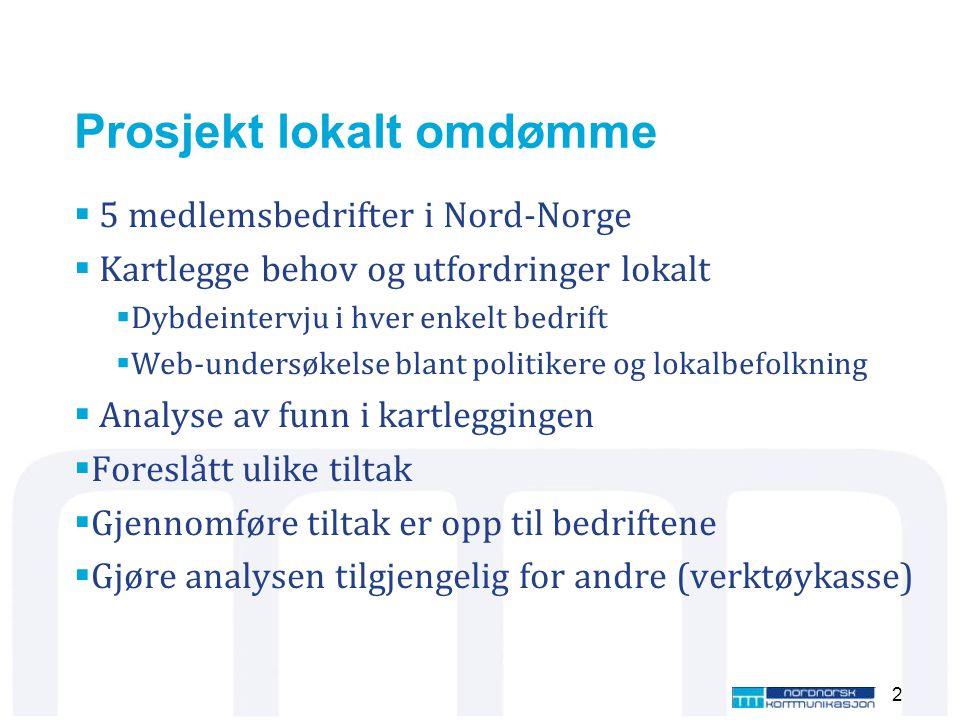 Prosjekt lokalt omdømme  5 medlemsbedrifter i Nord-Norge  Kartlegge behov og utfordringer lokalt  Dybdeintervju i hver enkelt bedrift  Web-undersø