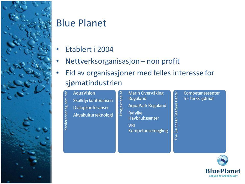 Blue Planet Etablert i 2004 Nettverksorganisasjon – non profit Eid av organisasjoner med felles interesse for sjømatindustrien Konferanser og seminar
