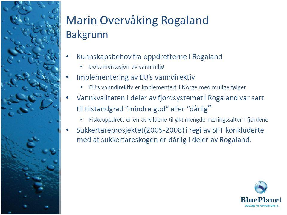 Marin Overvåking Rogaland Bakgrunn Kunnskapsbehov fra oppdretterne i Rogaland Dokumentasjon av vannmiljø Implementering av EU's vanndirektiv EU's vanndirektiv er implementert i Norge med mulige følger Vannkvaliteten i deler av fjordsystemet i Rogaland var satt til tilstandgrad mindre god eller dårlig Fiskeoppdrett er en av kildene til økt mengde næringssalter i fjordene Sukkertareprosjektet(2005-2008) i regi av SFT konkluderte med at sukkertareskogen er dårlig i deler av Rogaland.
