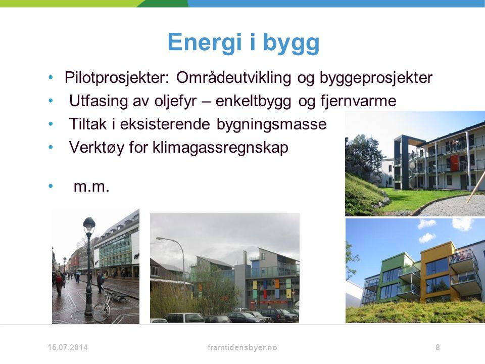 Energi i bygg Pilotprosjekter: Områdeutvikling og byggeprosjekter Utfasing av oljefyr – enkeltbygg og fjernvarme Tiltak i eksisterende bygningsmasse Verktøy for klimagassregnskap m.m.
