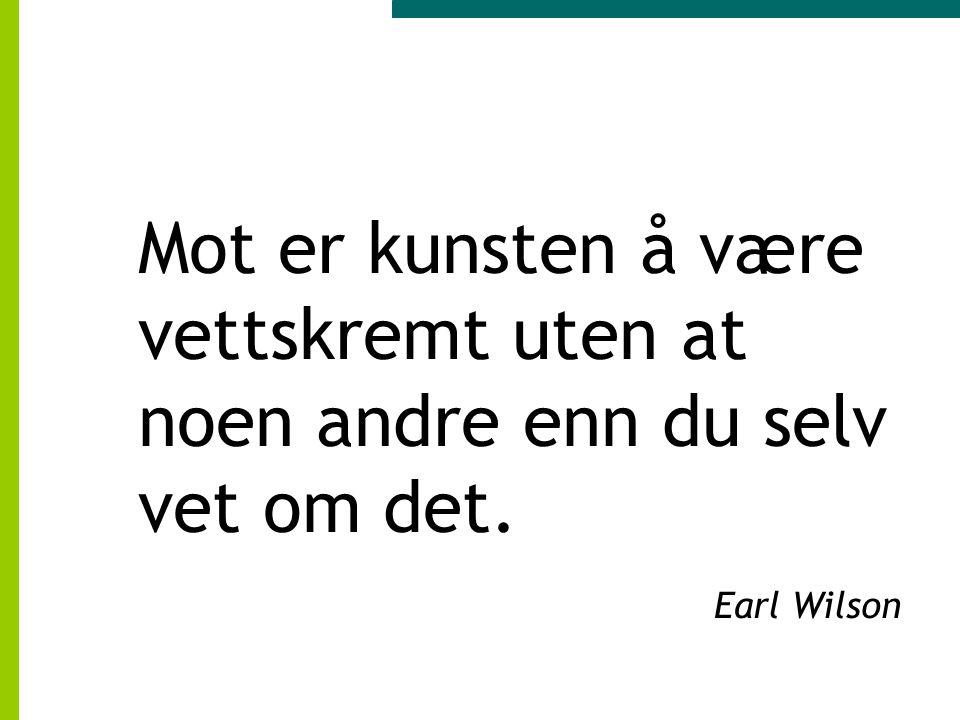 Mot er kunsten å være vettskremt uten at noen andre enn du selv vet om det. Earl Wilson